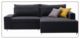 J & M Sofa Bed Sectional with Chaise, Charcoal Fabric - K51