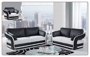 White/Black Ultra Bonded Leather 3 PC Sofa Set (Sofa, Loveseat and Chair)