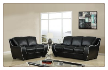 Black Bonded Leather 3 PC Sofa Set with White Trim (Sofa, Loveseat and Chair)