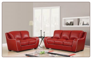RED Bonded Leather 3 PC Sofa Set with White Trim (Sofa, Loveseat and Chair)