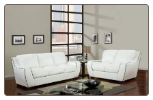White  Bonded Leather 3 PC Sofa Set with White Trim (Sofa, Loveseat and Chair)