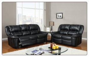 Black Bonded Leather 3 PC Reclining Sofa Set with Accent Stitching (Sofa, Loveseat and Recliner)