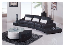 5 Piece Sectional - Black Leather Match Set by Global Furniture USA
