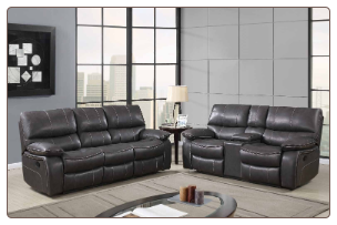 U0040 Reclining Living Room Set in Black Leather Gel