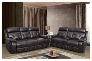 U2133 Reclining Living Room Set in Walnut Leather Gel