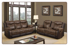 U2015 Reclining Living Room Set in Brown Polish Fabric