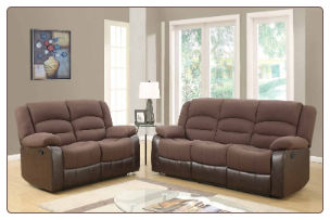U98243 Reclining Living Room Set in Chocolate Fabric