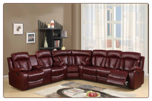 U97601 Reclining Sectional Sofa in Burgundy Leather