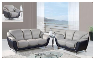 Two-Tone Grey and Black 3 PC Sofa Set (Sofa, Loveseat and Chair)