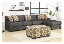 BOBKONA LINEN ASH BLACK SECTIONAL F7445-F7447
