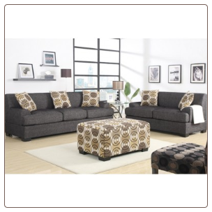 poundex  2 pc Living Room Set  microfiber fabric upholstered Living Room set
