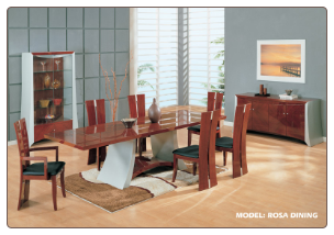 Rosa -    	Mahogany and Silver Finished Dining Room Set By Global Furniture USA