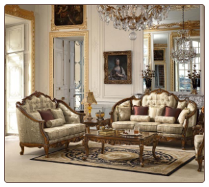 Traditional European Design Formal Living Room Sofa Set w/ Carved Wood Accents MCHD-15