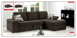 ESF - 1000 Modern  Sectional Sleeper in Full Fabric by European Style Furniture