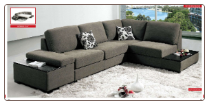 ESF - 1015 Modern  Sectional Sleeper in Full Fabric by European Style Furniture