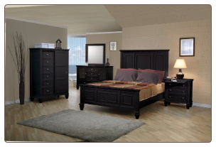 Sandy Beach Bedroom Set with Panel Bed in Black Finish - 201321
