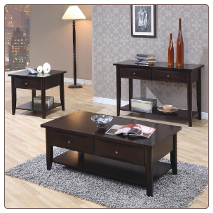 Whitehall Coffee Table Set  w/ Shelf & Drawers by Coaster