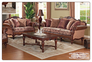 French Provincial Styled Bonded Leather Set (Sofa and Loveseat)