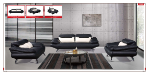 ESF  -9058 Leather Modern Living Room Set W/Adjustable Headrests