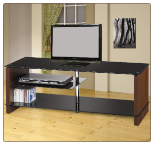 TV Stands Contemporary Media Console with Glass Shelves by Coaster