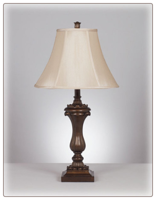 Famous Brand Lamps | Set of 2 Mable Table Lamps Antique Gold L369934 by Signature Design by Ashley