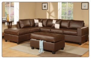 Poundex 7352 Leather Match/Walnut Espresso Brown Leather Sectional