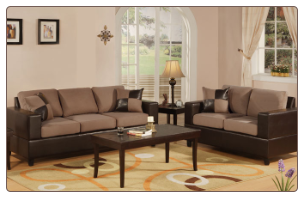 Poundex Bobkona F7592 Saddle 2pc Sofa & Loveseat Set sofa and loveseat