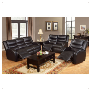 Poundex Black Color Modern Style Bonded Leather Motion Loveseat F6651