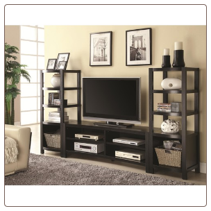 Curved Front TV Console & 2 Media Towers