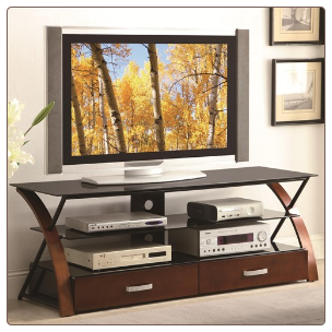 Contemporary TV Console with Black Glass