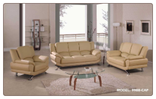 Global  - Modern Sofa and Loveseat Set with Leather Finish Set by Global USA