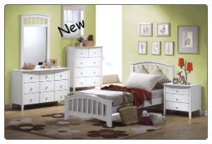 San Marino White Finish Full Bed Collection