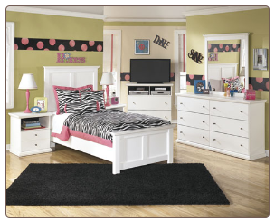 Signature Design by Ashley Furniture Bostwick Shoals White Full Panel Bedroom Set B139-54-57-96