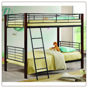 Twin/Twin Bunk Bed with Wood Posts & Metal Frame