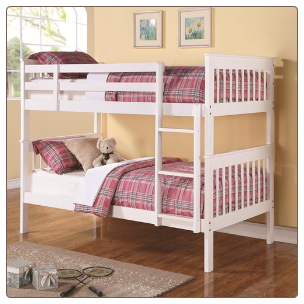 Twin Over Twin Bunk Bed with Full Length Guard Rails