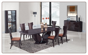 Global Furniture Wenge Finish Wood Dining Table and 6 Chairs D52-WENGE/DC