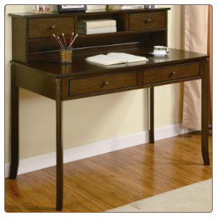 Desks Classic Writing Desk with Small Storage Hutch by Coaster