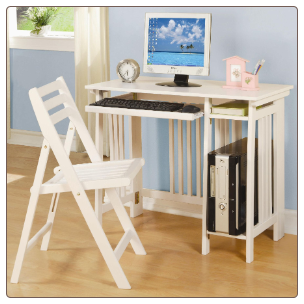 Desks Casual Folding Computer Desk with Keyboard Tray and Chair by Coaster