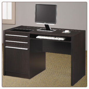 Ontario Contemporary Single Pedestal Computer Desk with Charging Station by Coaster