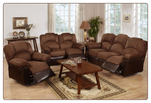Poundex Modern Style Espresso Bonded Leather Reclining SET F6671/72/73