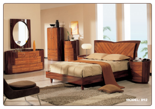 King - Two-Tone Wooden Bedroom Group with Oval Shaped Casegoods by Global USA