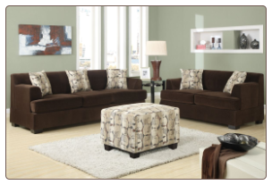 poundex  Banford Collection Chocolate Velvet Microfiber upholstered  Living Room set  with reversible chaise
