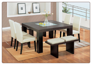 Elegant Dinette Set with Chairs in  Brown or Beige  Bicast Leather By Global Furnither USA