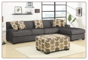 POUNDEX Furniture - Montreal Slate Small Sectional Sofa - F7449/F7448