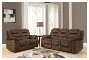 U97370 Reclining Living Room Set in Chocolate Fabric