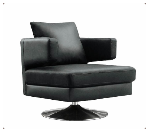 Chocolate /Black/ White Leather Sloped Back Swivel Chair, J&M
